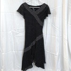 Black & White Slip-on Mid-length Dress